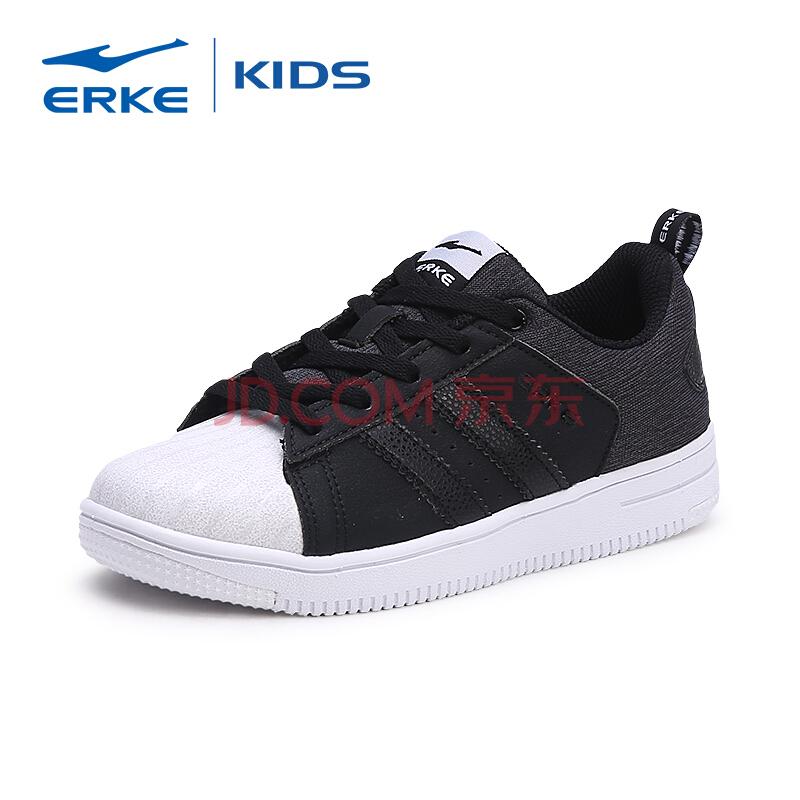 鸿星尔克(ERKE)男童鞋中性滑板鞋贝壳头休闲简约儿童运动鞋 正黑/正白 31